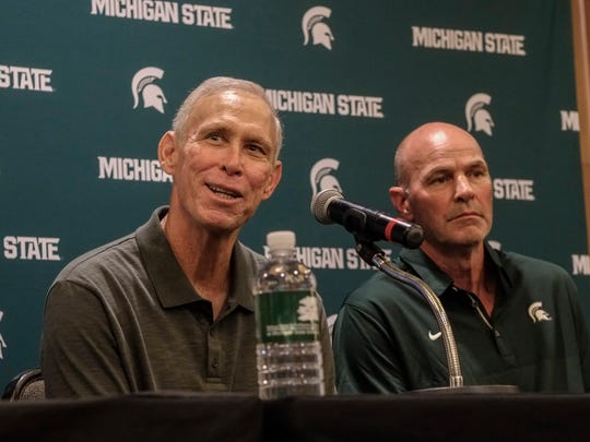 Former Detroit Tiger great Alan Trammell, left, speaks to the media as he sits next to long time friend Kirk Gibson Saturday, Sept. 23, 2017 at MSU. Gibson, who will be honored before the start of the MSU football game with an induction ceremony into the MSU Ring of Fame, has announced he will be spearheading a fundraising campaign to raise money for the MSU Department of Human Medicine for research on Parkinson's Disease.