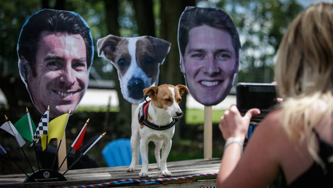 Simon Pagenaud's dog campaigns for him in Wisconsin.