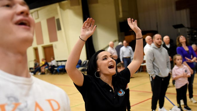 """Mariah Rodriguez of Spring Garden Township reacts after missing her last free throw during the """"Rich Arnold Hoops for Sight"""" fundraiser at The Church of the Open Door on Saturday. The money raised during the event supports research to find a cure for retinal diseases."""