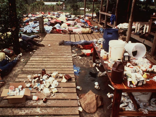 Bodies are strewn around the Jonestown Commune in Jonestown, Guyana where more than 900 members of the People's Temple committed suicide in November 1978.  The Rev. Jim Jones urged his disciples to drink cyanide-laced grape punch.  Jones, who was among those who died, led the Peoples Temple, which ran a free clinic and a drug rehabilitation program.  (AP Photo/file)