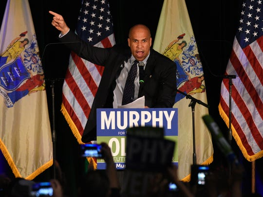 Sen. Cory Booker introduces lieutenant governor candidate Sheila Oliver at the victory party for Oliver and Gov.-elect Phil Murphy in Asbury Park.