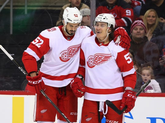Red Wings left wing Tyler Bertuzzi (59) celebrates