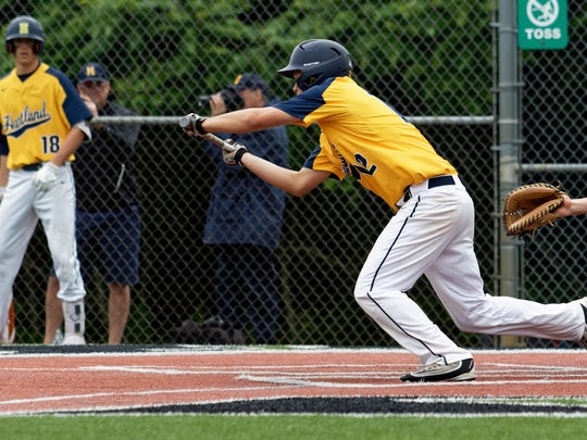 Hartland's Aiden Ehgotz lays down a bunt in a 6-0 loss