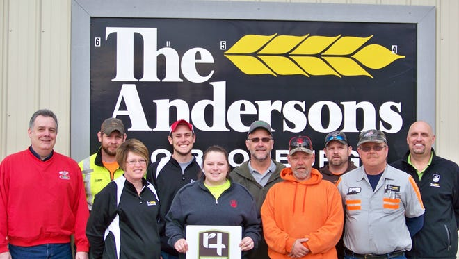 The Andersons Gibsonburg: The Andersons Farm Center in Gibsonburg, Ohio is now 4R Nutrient Stewardship Certified. Employees pictured (from L to R) include: Back Row Bill Kuhlman, Keith Hicks, Brock Avers, Jim Gosche, Adam Thacker and Dean Anstead; Front Row: Annette Clark, Kristin Welling, Jeff Weickert and Bill Martin.