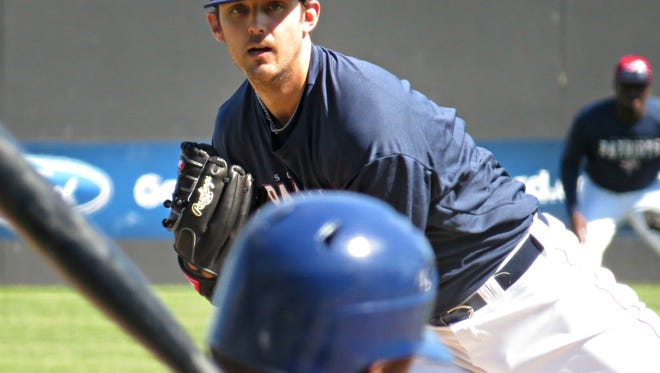 Somerset Patriots' Matt Bywater delivers a pitch in a spring training game.