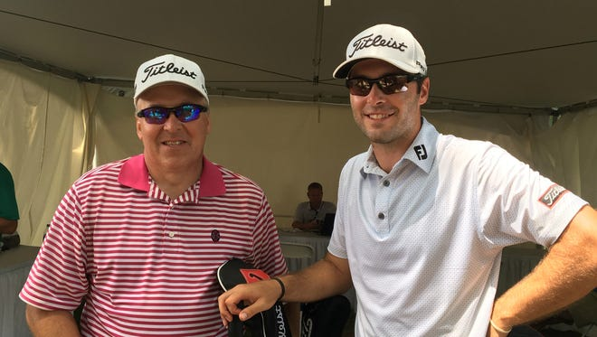 Web.com Tour golfer Dan Woltman, right, has his father, Bryan, caddying for him at the Nashville Golf Open.