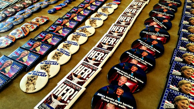 Pins for sale at the 2016 Democratic National Convention.