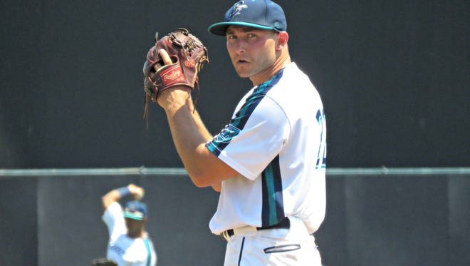 Mike Aquilino, a 28-year-old with no previous professional experience, throws for the Bridgeport Bluefish in Tuesday's game against the Somerset Patriots in Connecticut.