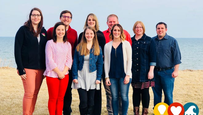 Young Professionals of Manitowoc County are, front row, from left: Stefanie Lighthall, Schenck SC; Lindsey Krause, Progress Lakeshore; Ashley Armstrong, Manitowoc Public School District; Bonnie Proszenyak, Manitowoc Public School District; Steve Proszenyak, Manitowoc Public School District; and back row, from left: Kim Kowieski, Farm Wisconsin Discovery Center; Scott Stuckman, Schenck SC; Lorinda Tulachka, Progress Lakeshore; and Derek Braun, Progress Lakeshore/Leede Research.