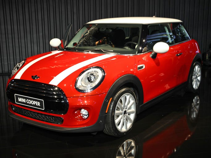 The redesigned 2014 Mini Cooper S hardtop on display at the L.A. Auto Show.