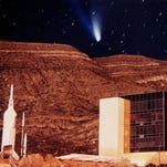 Hale-Bopp Comet passes above the New Mexico Museum of Space History 20 years ago.