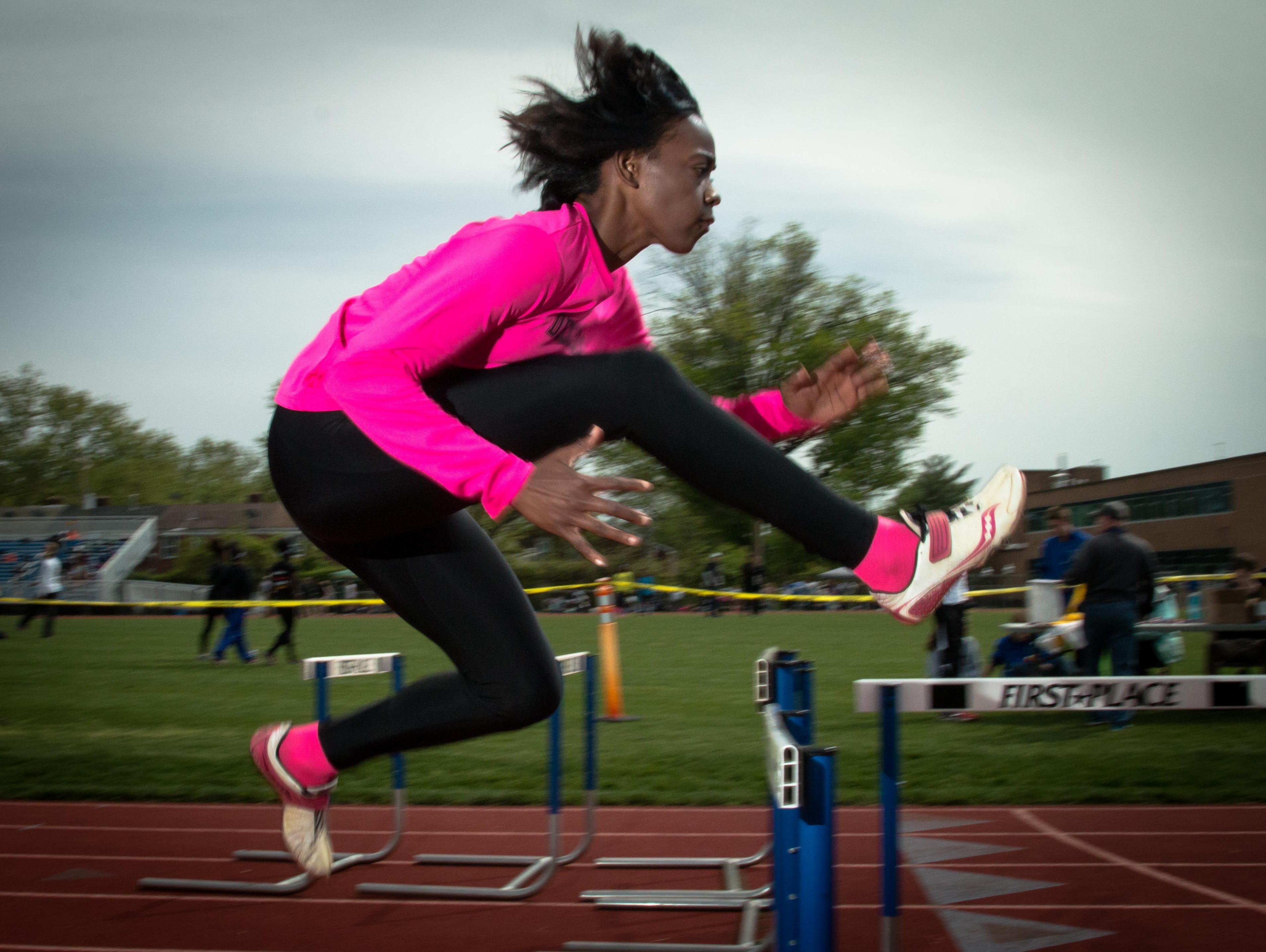 Athlete of the Week Sherita Lowman warming up prior to the Charter Invitational on Monday.