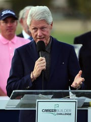 Former President Bill Clinton addresses the gallery after conclusion of the final round of the CareerBuilder Challenge In Partnership With The Clinton Foundation at the TPC Stadium course at PGA West on Jan. 24 in La Quinta.