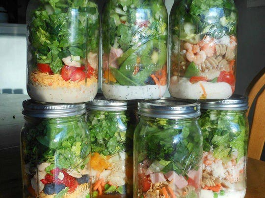 Healthy Harvester mason jar salads are available for