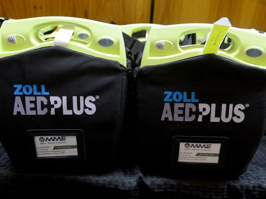 Sixteen AEDs were donated to the county and city fire departments, police department and sheriff's office by 101.5 FM on Tuesday.