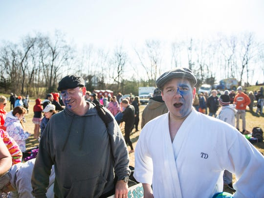 Tim DeLeon talks about taking the plunge for the first time with the Braveheart Polar Bear Club the as hundreds braved the cold waters at Willow Springs Park to participate in the annual Polar Bear Plunge that benefits Developmental & Disability Services Lebanon Valley on Sunday, January 1, 2017