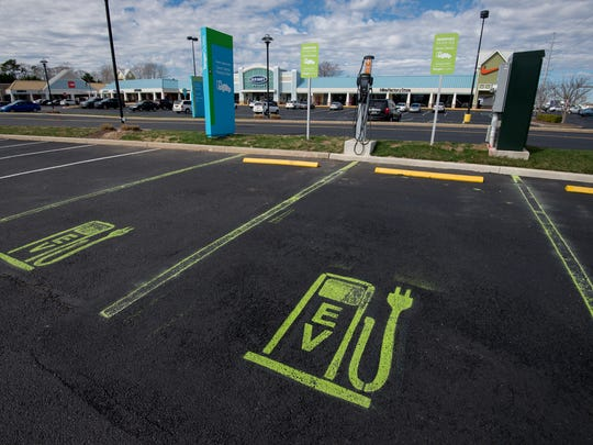 Electric vehicle charging station at Tanger Outlets Bayside location in Rehoboth Beach.