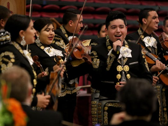 File - Mariachi Sol Azteca perfoms at the 12th annual Hispanic Leadership Banquet Saturday in D.L. Ligon Coliseum.