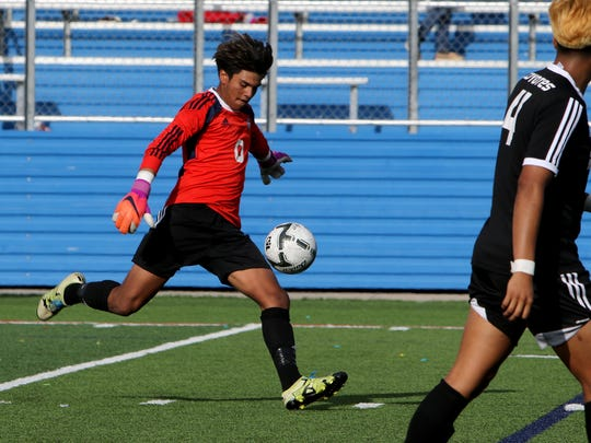 Wichita Falls High School goalie Israel Gonzalez punts the ball toward the Frisco Wakeland goal in the UIL Soccer State Championship semifinal Thursday, April 13, 2017, at Birkelbach Field in Georgetown.