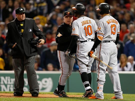 Orioles manager Buck Showalter gets in between umpire