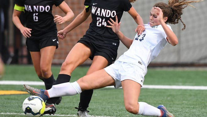 J.L. Mann sophomore Caroline Conti (23), the Gatorade South Carolina Girls Soccer Player of the Year, led the Patriots to the Class AAAAA state title.