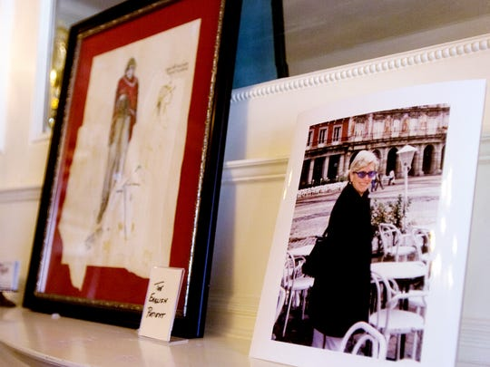 "A photograph of costume designer Ann Roth, a Hanover native, sits next to a sketch from ""The English Patient"" on display at the Warehime-Myers Mansion in 2009. Roth won an Oscar for her costume work on the movie."