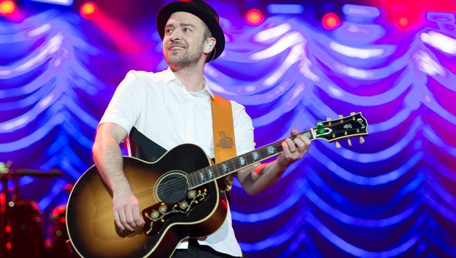 Justin Timberlake performs on stage during a concert in the Rock in Rio Festival on September 15, 2013 in Rio de Janeiro, Brazil.