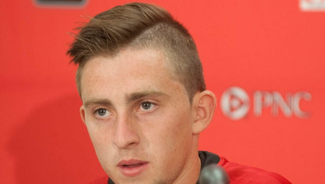 Media day at the Dr. Mark & Cindy Lynn Stadium, a new  state-of-the-art facility that will serve as home for both UofL's men's and women's soccer programs. Here, sophomore midfielder Andrew Brody speaks to the media. 13 August 2014