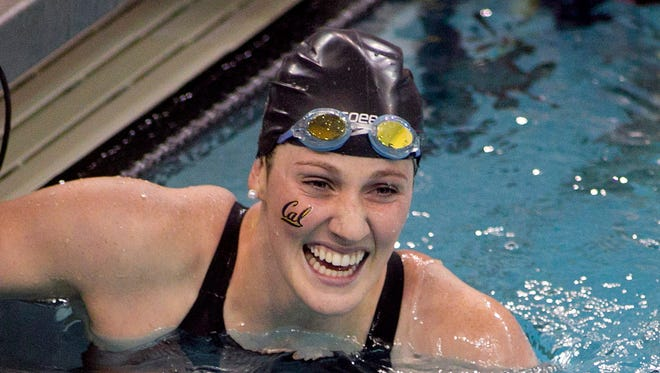 Missy Franklin, of California, celebrates after winning the 200-yard freestyle event at the NCAA Women's Division I Championships in Minneapolis, Friday.