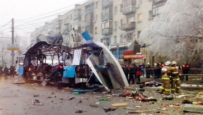 Trolleybus wreckage after a suicide bombing on Dec. 30 in Volgograd, Russia.