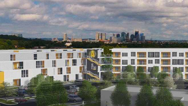 A skyline view of Alloy on Tech Hill, a mixed-use development planned off Nolensville Pike near The Fairgrounds Nashville.