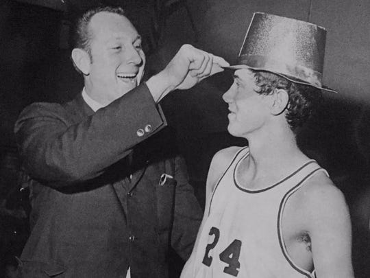 St. Joseph's head coach Steve Gepp and star player Kevin Billerman having some fun after winning the South Jersey Non-Public C title on St. Patrick's Day in 1970.