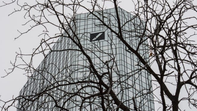 File photo taken in 2015 shows one of the  twin towers of Deutsche Bank headquarters in Frankfurt, Germany.