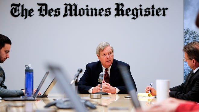 Former U.S. Agriculture Secretary Tom Vilsack speaks to the Des Moines Register Editorial Board Monday, Dec. 19, 2016.