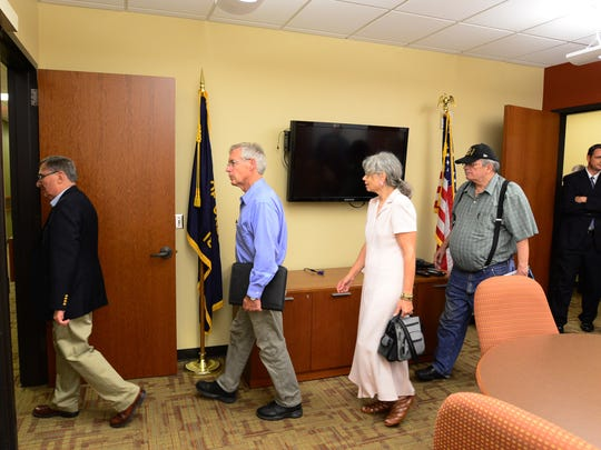 Members of a task force to review options for the Vern Miller Civic Center tour the Keizer Civic Center on Tuesday.
