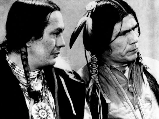 Russell Means, left, and Dennis Banks, American Indian