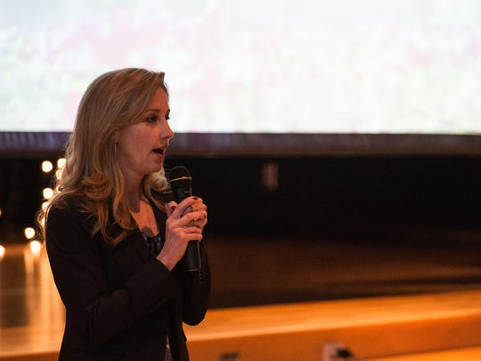 Michele Gay, founder of Safe and Sound Schools, speaks to an audience during a School Safety Conference on Tuesday, March 13, 2018.