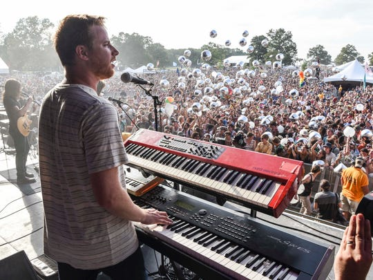 Wes Bailey, keyboardist for Moon Taxi, plays at Bonnaroo
