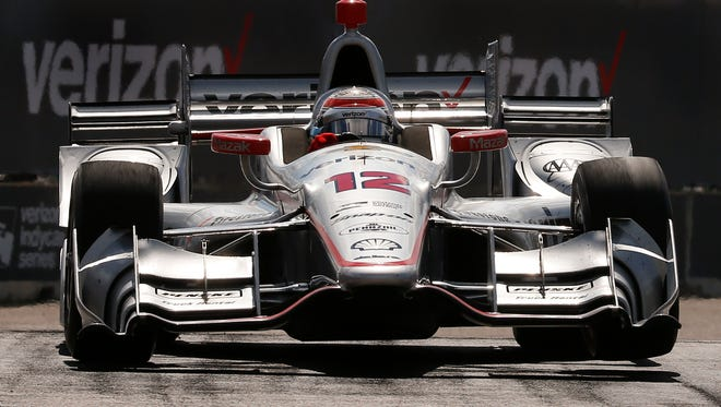 Will Power exits a turn during race two of the IndyCar Detroit Grand Prix auto racing doubleheader on Belle Isle in Detroit, Sunday, June 5, 2016. Power won the race. (AP Photo/Paul Sancya)