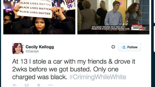 Twitter has been lit up by #CrimingWhileWhite and #AliveWhileBlack