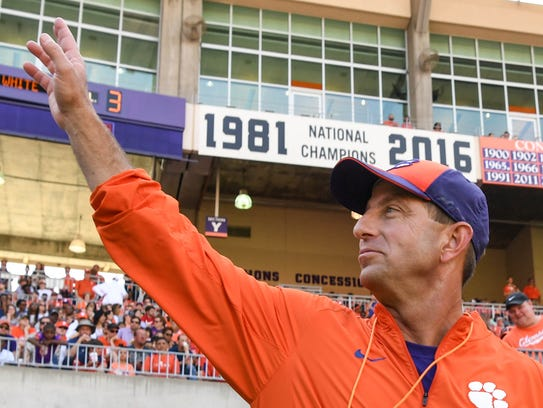 Clemson head coach Dabo Swinney during the the spring