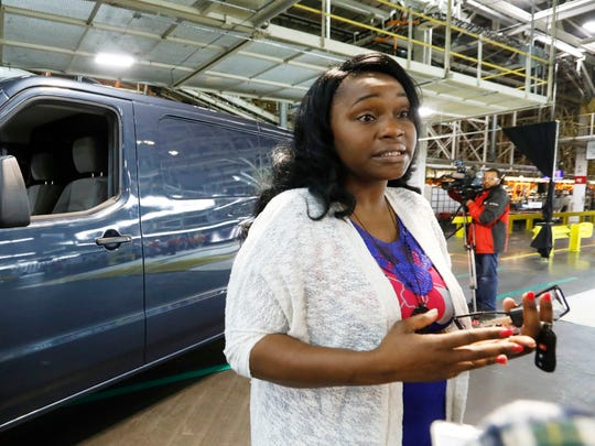 Shevetta Leflore, executive director of Our Daily Bread Ministries, speaks about the NV Commercial Van gifted her organization by Nissan North America, as the company celebrates production of 4 million vehicles at its Canton assembly plant Monday.