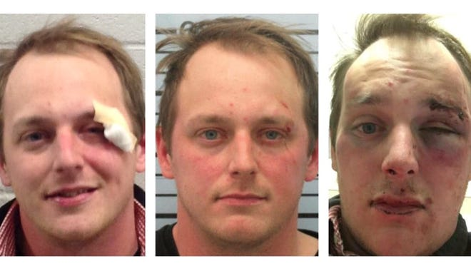 Photos of Chris Barnes, as taken by University of Mississippi police, form left, in a booking photo and upon his release.