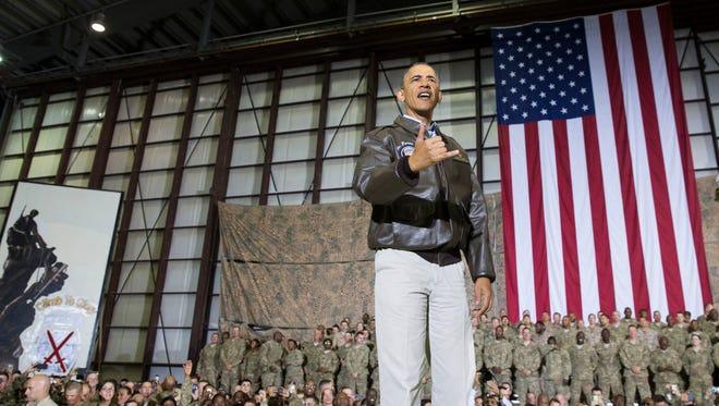President Obama speaking to troops at Bagram Air Field in Afghanistan on Sunday.