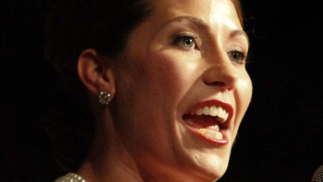 Alison Lundergan Grimes, secretary of state giving acceptance speach at Frankfort Civic Center. November 8, 2011