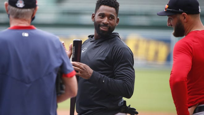 Boston Red Sox outfielder Jackie Bradley Jr. (center) has spoken with manager Ron Roenicke on issues such as racism since George Floyd was killed while being detained by Minneapolis police back in June.