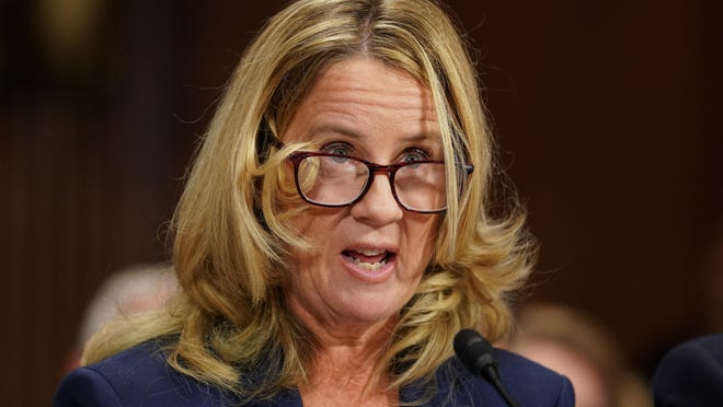 Christine Blasey Ford testifies on Thursday before the Senate Judiciary Committee. The FBI will investigate sex assault allegations against Supreme Court nominee Judge Brett Kavanaugh.
