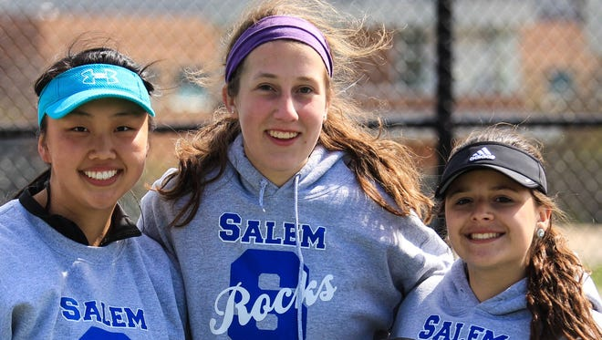 Saturday's P-CEP tourney was quite a day for the Salem Rocks. From left are the team's three singles champions, Chelsea Yu (1 singles), Madison Kulik (3 singles) and Bianca Ghita (2 singles).