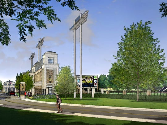 An architect's rendering shows the renovations first proposed to Baynard Stadium during a press conference on Nov. 2, 2016. The tentative lease agreement between the City of Wilmington and Salesianum School fell apart two weeks later, but a new deal between the two parties was announced Wednesday. Salesianum president Brendan Kennealey said the planned renovations remain the same.