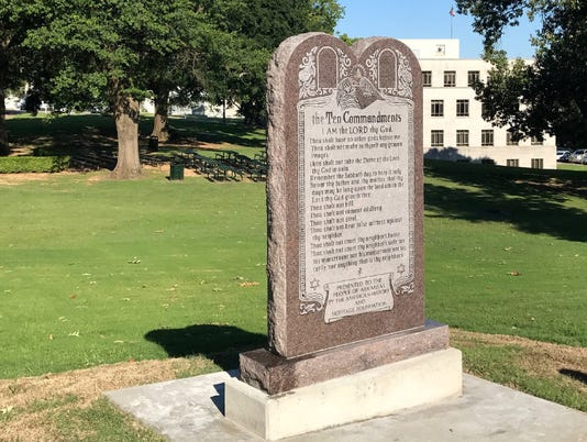 Ten Commandments monument outside the Arkansas State Capitol Building